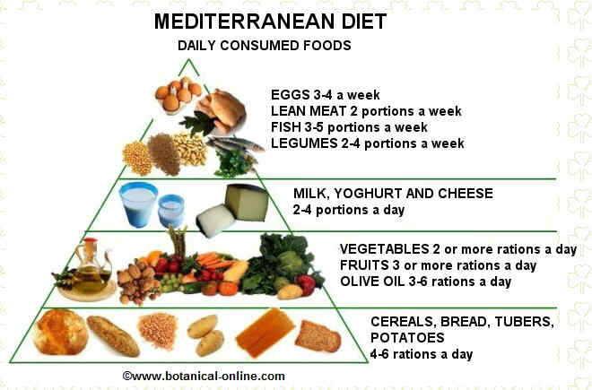 Food pyramid of Mediterranean diet
