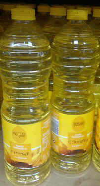 Bottles of sunflower oil