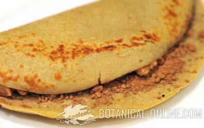 Pancake or banana pancake with carob