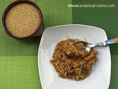 amaranto crudo y amaranto cocido