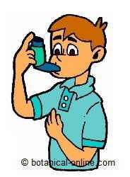 child with asthma and inhaler