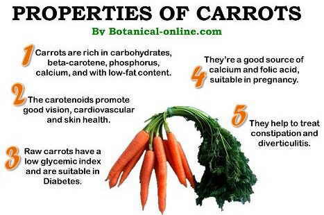 Properties of carrots and betacarotene