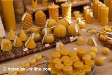 candles made with beeswax.