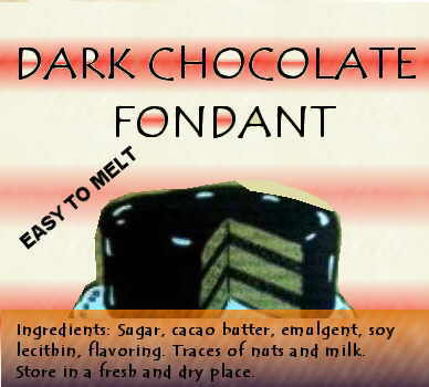 Dark chocolate label with lots of sugar