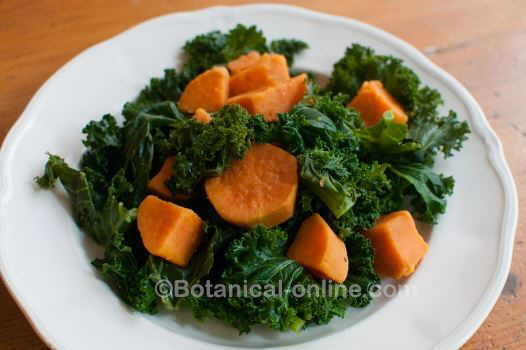 cabbage kale with boiled sweet potato