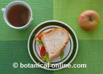 sandwich, fruit and infusion