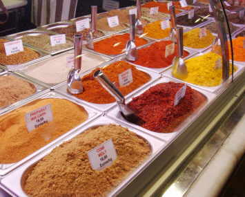 photo of spices in a market