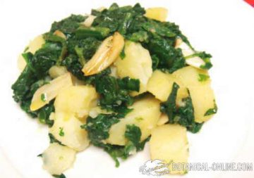 Boiled potato with spinach