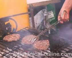 Hamburgers being roasted
