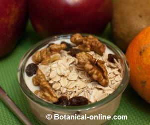 Photo of yogurt with oats, nuts and raisins