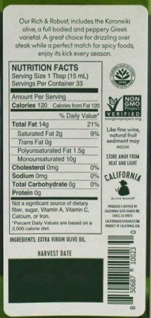 Fat label of extra virgin olive oil