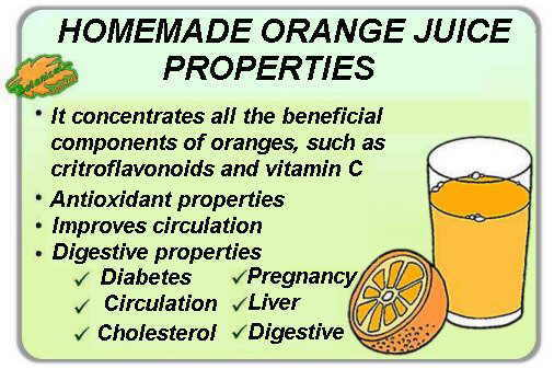 Main properties and benefits of orange juice