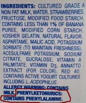 abel of sweetener aspartame