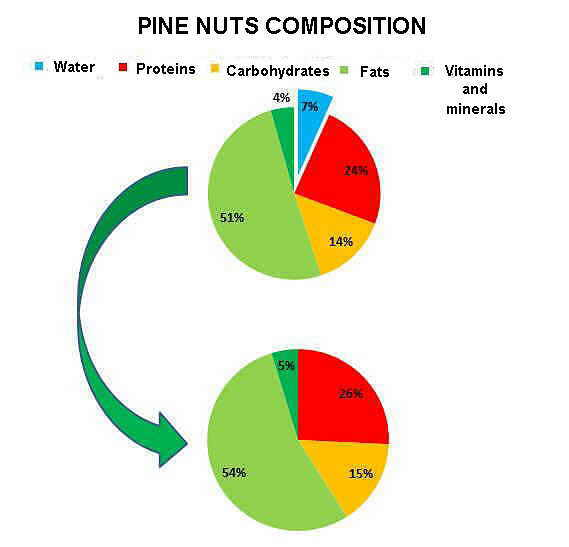 Pine nuts composition