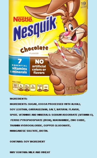 Cocoa powder label for children