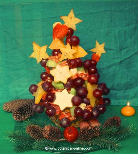 Christmas tree with fruits