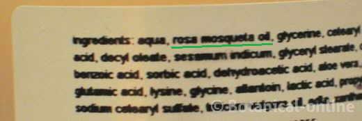 rosehip inci cosmetic label