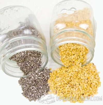 Flax seeds and chia seeds