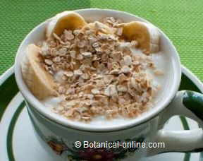 Photo of yogurt with oat flakes and banana