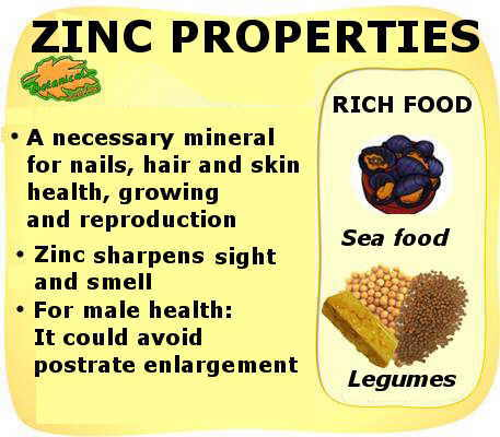 Main properties of the mineral zinc