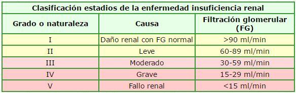 clasificacion insuficiencia renal cronica estadio grado enfermedad IRC