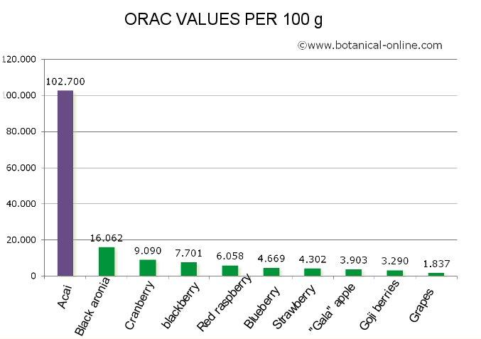 Antioxidant properties of acai