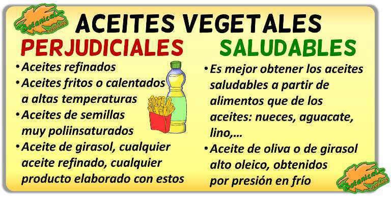 diferencias aceites vegetales buenos malos perjudiciales propiedades beneficios perjudiciales