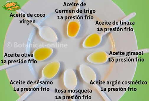 tipos de aceites vegetales para la piel color y propiedades