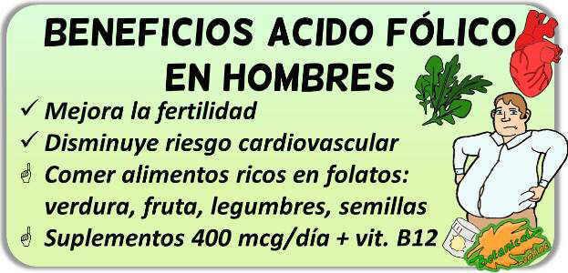 propiedades efectos acido folico vitamina b9 hombres
