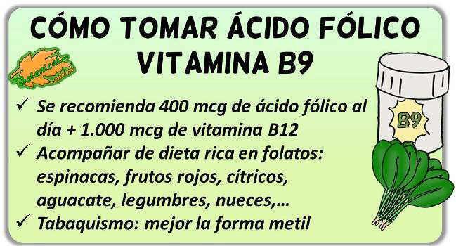como tomar acido folico vitamina b9 suplementos
