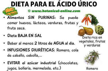 Dieta para evitar el acido urico alto