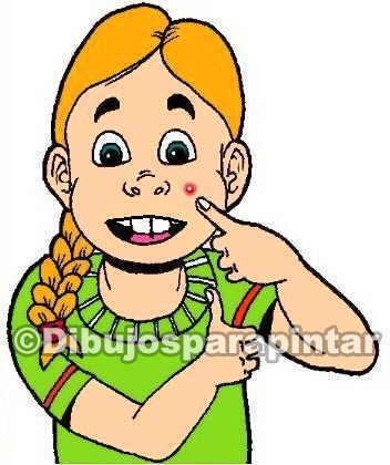 dibujo de niña con acne