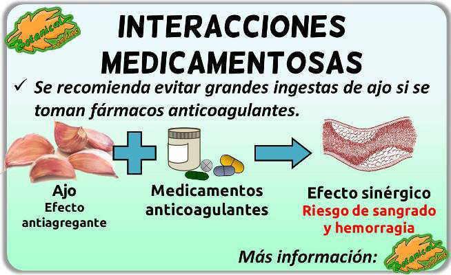 interacciones combinacion contraindicaciones ajo medicamentos anticoagulantes