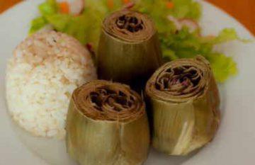 Alcachofas al vapor con arroz