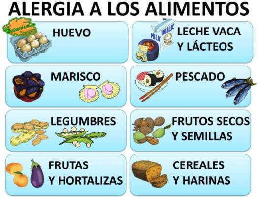 alergia a los alimentos lista de alergenos