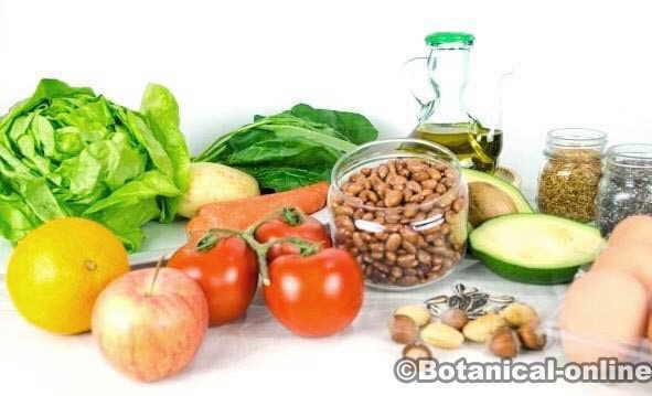 alimentos dieta saludable equilibrada mediterranea, verduras, legumbres frutos secos huevo vegetariana