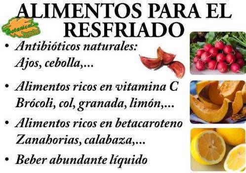 Dieta recomendada para el resfriado, alimentos y vitamina c