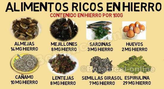 alimentos ricos en hierro dieta vegetariana, anemia y marisco