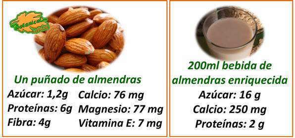 valor nutricional y contenido en calcio de las almendras y la leche