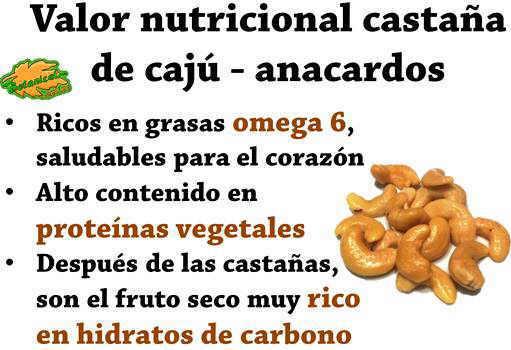 propiedades de anacardos o castaña de caju valor nutricional