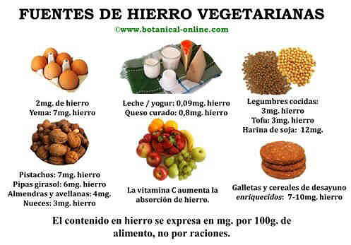 Fuentes de hierro vegetarianas