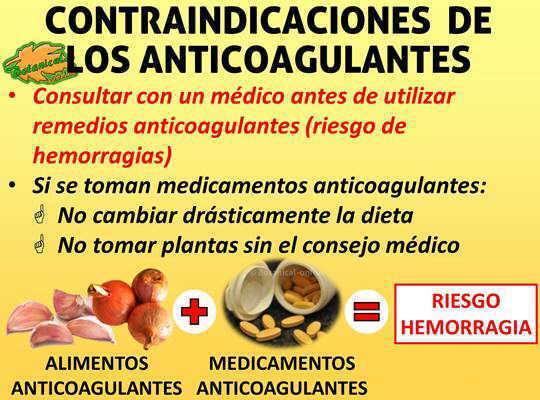 contraindicaciones de las plantas medicinales y medicamentos anticoagulantes para fluidificar la sangre