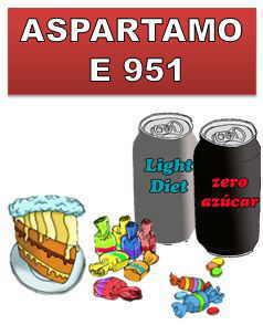 Aditivo aspartame en productos sin azucar, e 951