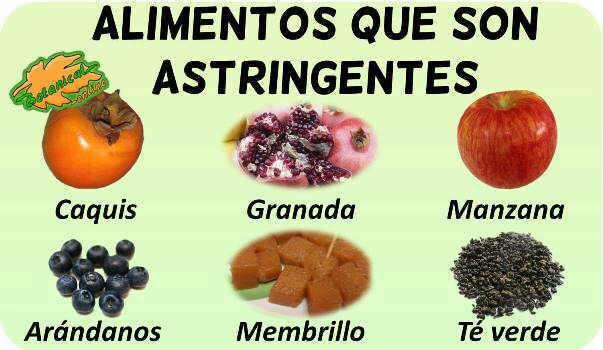 alimentos y plantas con propiedades astringentes taninos