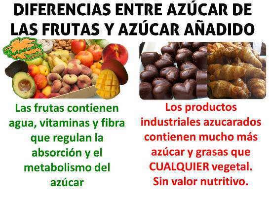 diferencia entre los alimentos ricos en azúcar y los productos industriales ricos en azucar