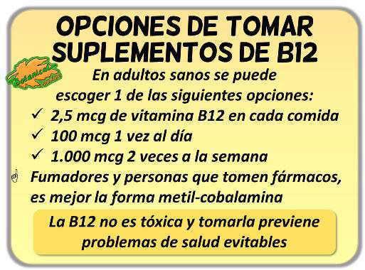 como tienen que tomar suplementos de vitamina b12 vegetarianos y veganos en dosis y cantidades