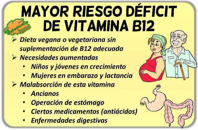 riesgo deficiencia deficit de vitamina b12 vegetarianos ancianos estomago enfermedades