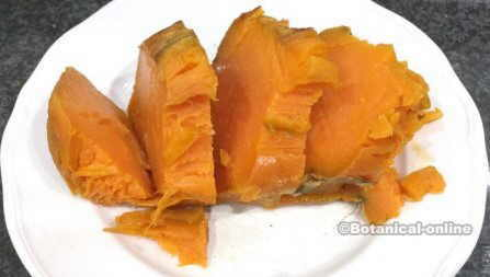 of sweet potato that has been cooled, sliced and reheated, ready for a healthy breakfast