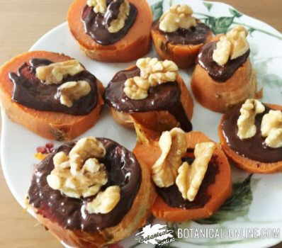 boniato postre chocolate nueces canapes dulces