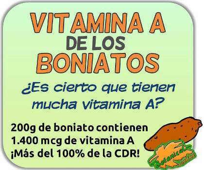 cantidad de vitamina A de los boniatos betacarotenos